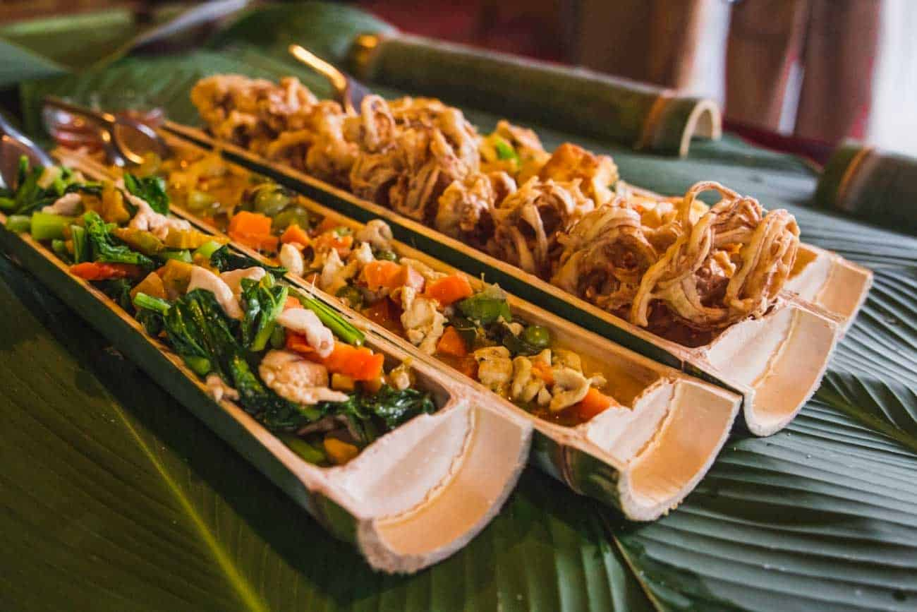 Thai food in bamboo cooked in cooking class Khao Sok Thailand