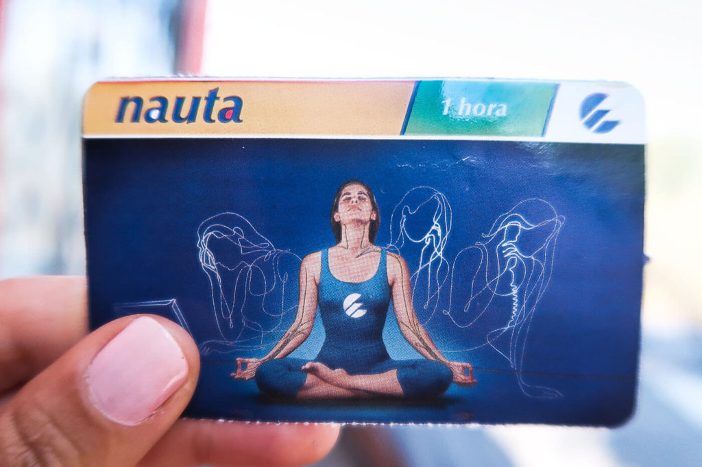 ETECSA Card in a woman's hand .