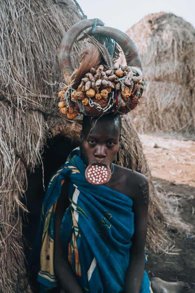 Omo Valley Mursi woman with clay plate in her lip