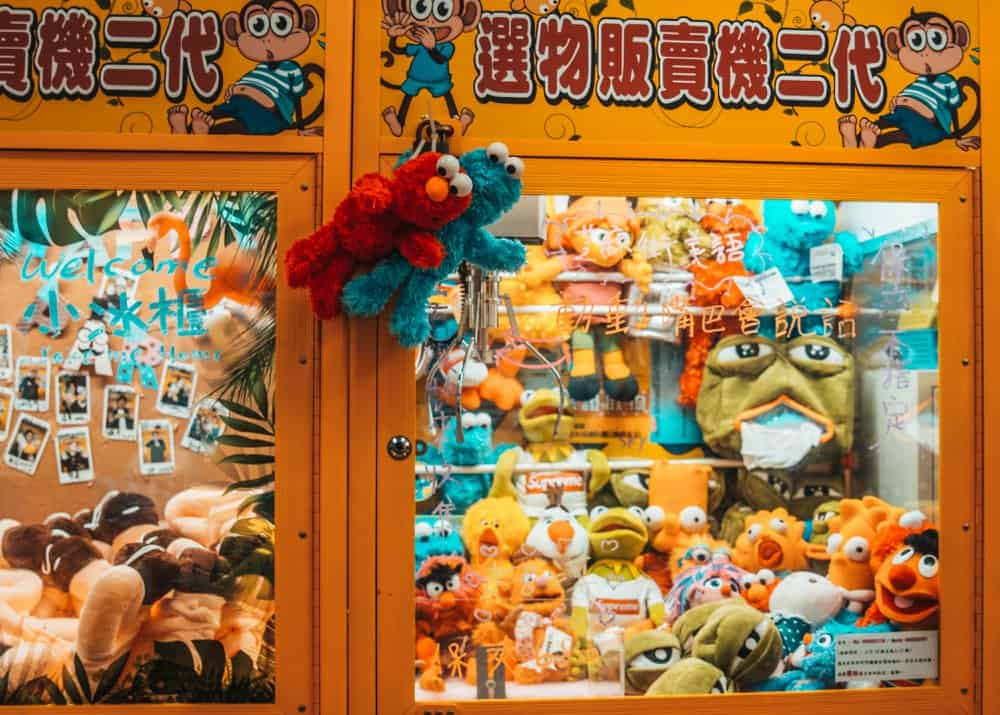 Claw machine with many different toys