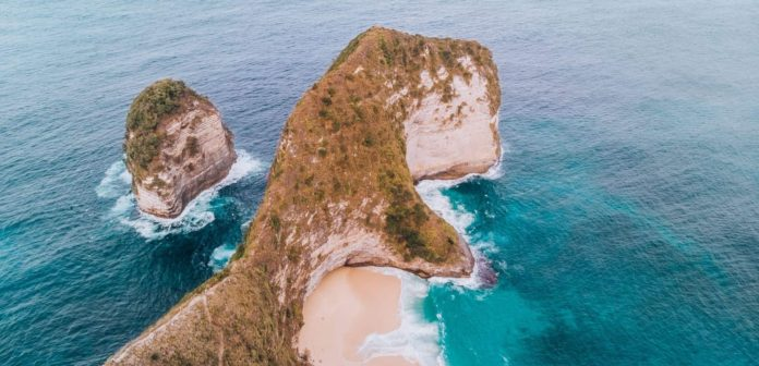 the nusa islands top 5. the cliff of Kelinking beach of Nusa Penida Bali Indonesia